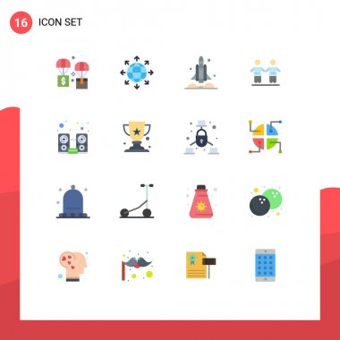 16 Creative Icons Modern Signs and Symbols of group, friends, world, best, transport Editable Pack of Creative Vector Design Elements icon