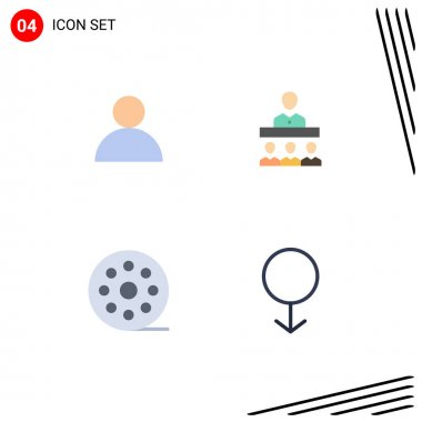 Editable Vector Line Pack of 4 Simple Flat Icons of account, movie, meeting, office, gender Editable Vector Design Elements icon
