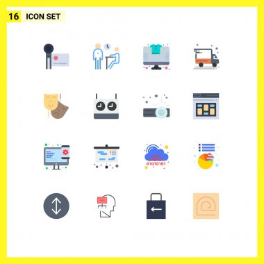 Universal Icon Symbols Group of 16 Modern Flat Colors of acting, delivery van, people, delivery truck, store Editable Pack of Creative Vector Design Elements icon