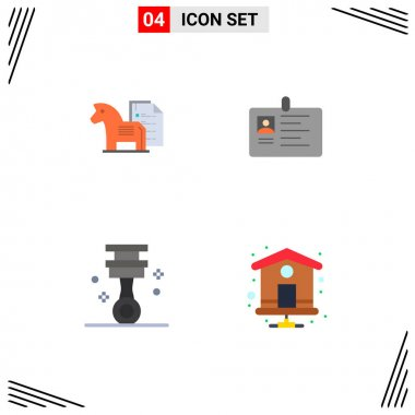 4 User Interface Flat Icon Pack of modern Signs and Symbols of strategy, id, chess, card, identity Editable Vector Design Elements icon