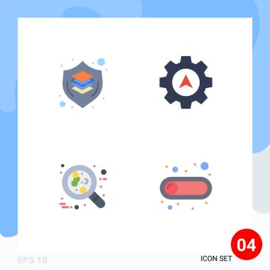 4 User Interface Flat Icon Pack of modern Signs and Symbols of brain, cancer, shield, cursor, leukemia Editable Vector Design Elements icon