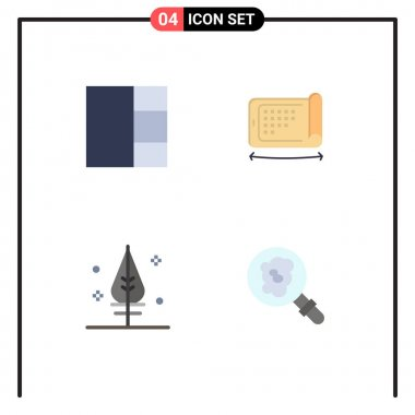 Flat Icon Pack of 4 Universal Symbols of grid, search, display, feather, pollution Editable Vector Design Elements icon