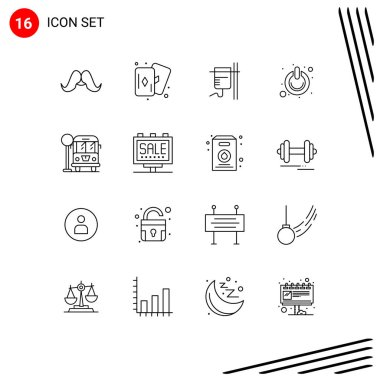 16 Creative Icons Modern Signs and Symbols of city, power, healthcare, on, button Editable Vector Design Elements icon