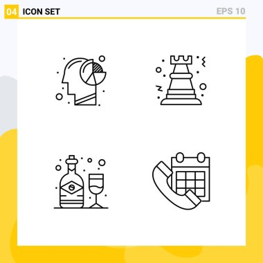 Stock Vector Icon Pack of 4 Line Signs and Symbols for analysis, strategy, human, chess, bottle Editable Vector Design Elements icon