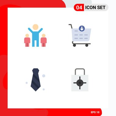 User Interface Pack of 4 Basic Flat Icons of company, tie, buy, attire, lock pad Editable Vector Design Elements icon