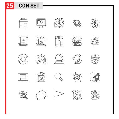 Stock Vector Icon Pack of 25 Line Signs and Symbols for global, user, blueprint, connections, plan Editable Vector Design Elements icon