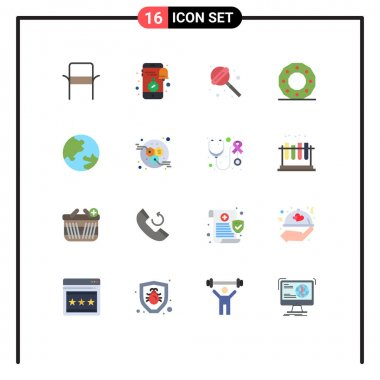 16 Creative Icons Modern Signs and Symbols of earth, holiday, news, circle, celebration Editable Pack of Creative Vector Design Elements icon