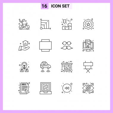 Stock Vector Icon Pack of 16 Line Signs and Symbols for shopping, label, scince, badge, jigsaw puzzle Editable Vector Design Elements icon