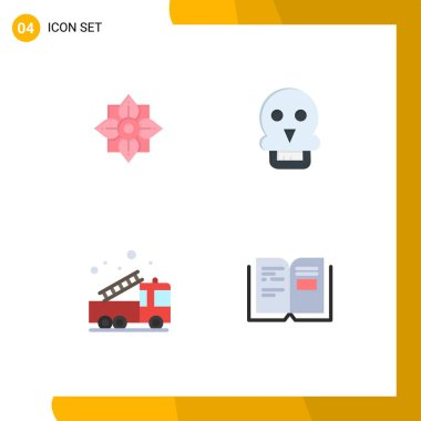 User Interface Pack of 4 Basic Flat Icons of flower, emergency, chinese, medical, help Editable Vector Design Elements icon