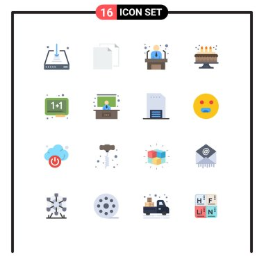 Universal Icon Symbols Group of 16 Modern Flat Colors of eraser, board, applicant, candle, birthday Editable Pack of Creative Vector Design Elements icon