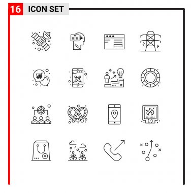 Stock Vector Icon Pack of 16 Line Signs and Symbols for offer, mail, internet, tower, line Editable Vector Design Elements icon