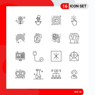 Stock Vector Icon Pack of 16 Line Signs and Symbols for hand, gesture, hat, finger, tag Editable Vector Design Elements icon