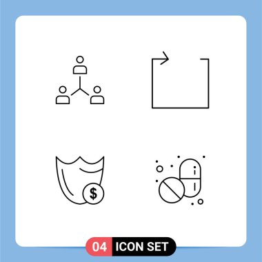 Stock Vector Icon Pack of 4 Line Signs and Symbols for structure, repeat, group, team, guard Editable Vector Design Elements icon