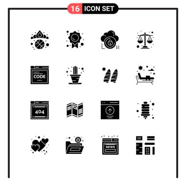 Stock Vector Icon Pack of 16 Line Signs and Symbols for internet, scales, cloud, justice, private Editable Vector Design Elements icon