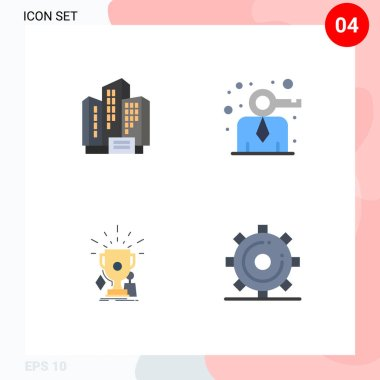 Set of 4 Commercial Flat Icons pack for address, game, company, modern, trophies Editable Vector Design Elements icon