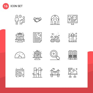 Stock Vector Icon Pack of 16 Line Signs and Symbols for develop, app, hands, wedding, celebration Editable Vector Design Elements icon