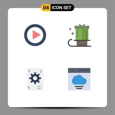 4 User Interface Flat Icon Pack of modern Signs and Symbols of video, collective, celebration, holiday, creative Editable Vector Design Elements icon