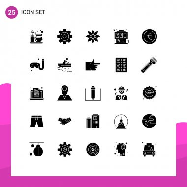 Stock Vector Icon Pack of 25 Line Signs and Symbols for coin, joystick, amaryllis flower, controller, game Editable Vector Design Elements icon