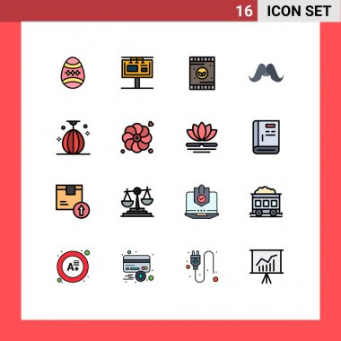 Stock Vector Icon Pack of 16 Line Signs and Symbols for men, movember, branding, hipster, soil Editable Creative Vector Design Elements icon
