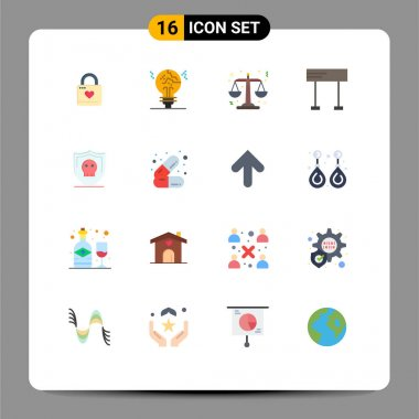 Universal Icon Symbols Group of 16 Modern Flat Colors of shield, race, fake, line, scales Editable Pack of Creative Vector Design Elements icon