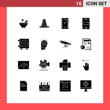 Stock Vector Icon Pack of 16 Line Signs and Symbols for cash, video, warning, mobile, android Editable Vector Design Elements icon