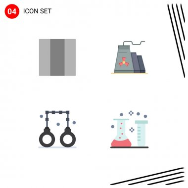 Flat Icon Pack of 4 Universal Symbols of grid, police, construction, handcuffs, chemical Editable Vector Design Elements icon