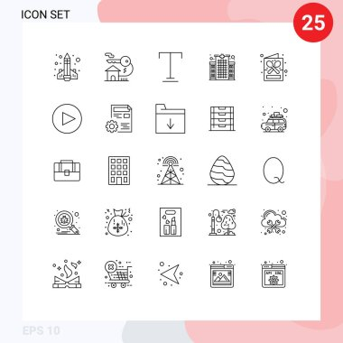 Stock Vector Icon Pack of 25 Line Signs and Symbols for coffee shop, care, key, hospital, building Editable Vector Design Elements icon