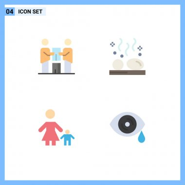 Set of 4 Commercial Flat Icons pack for business, wellness, partnership, hot, family Editable Vector Design Elements icon