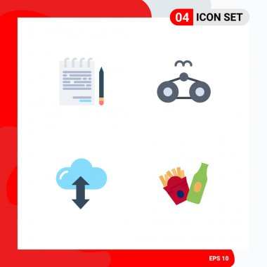 Pack of 4 Modern Flat Icons Signs and Symbols for Web Print Media such as business, cloud, list, glasses, up Editable Vector Design Elements icon