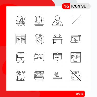 Stock Vector Icon Pack of 16 Line Signs and Symbols for content, columns, favorite, tool, screen Editable Vector Design Elements icon