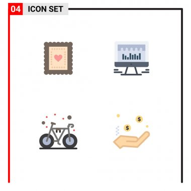 Flat Icon Pack of 4 Universal Symbols of biscuit, bike, toddler, beat, gym Editable Vector Design Elements icon