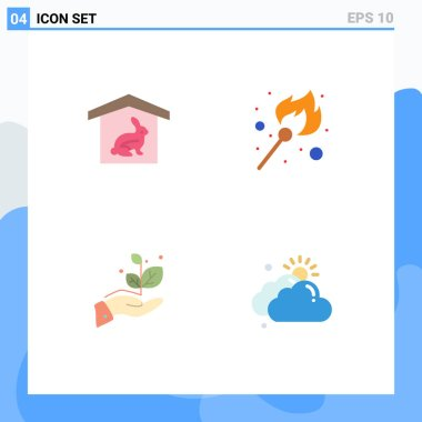 Editable Vector Line Pack of 4 Simple Flat Icons of house, grow, nature, lighter, success Editable Vector Design Elements icon