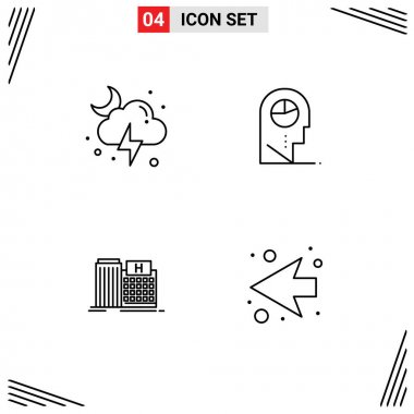 Stock Vector Icon Pack of 4 Line Signs and Symbols for cloud, healthcare, storm, man, building Editable Vector Design Elements icon