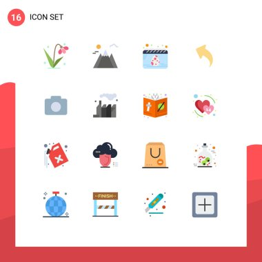 Universal Icon Symbols Group of 16 Modern Flat Colors of image, instagram, date, arrows, left Editable Pack of Creative Vector Design Elements icon