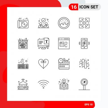 Stock Vector Icon Pack of 16 Line Signs and Symbols for world, web, donut, search, move Editable Vector Design Elements icon