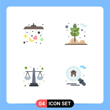 Pack of 4 Modern Flat Icons Signs and Symbols for Web Print Media such as baby, equality, agriculture, wheat, home Editable Vector Design Elements icon