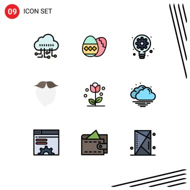Stock Vector Icon Pack of 9 Line Signs and Symbols for floral, men, process, beared, hipster Editable Vector Design Elements icon