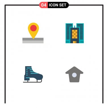 Pack of 4 creative Flat Icons of map, skates, building, boot, birdhouse Editable Vector Design Elements icon
