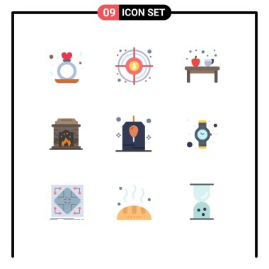 Stock Vector Icon Pack of 9 Line Signs and Symbols for birthday, fire place, finding goal, chimney, education Editable Vector Design Elements icon