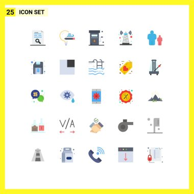 Stock Vector Icon Pack of 25 Line Signs and Symbols for tower, signal, school, station, petrol Editable Vector Design Elements icon