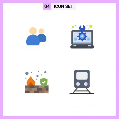 Set of 4 Commercial Flat Icons pack for friends, fire, team, idea, security Editable Vector Design Elements icon