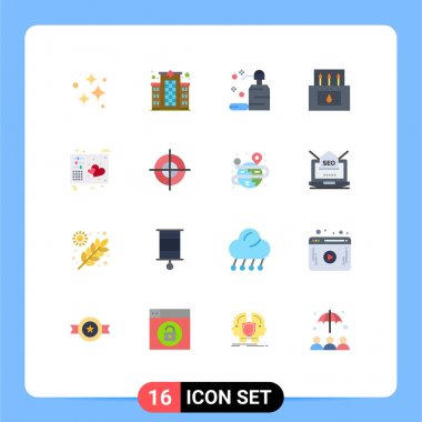 16 Creative Icons Modern Signs and Symbols of love, matches, care, camp, soap Editable Pack of Creative Vector Design Elements icon