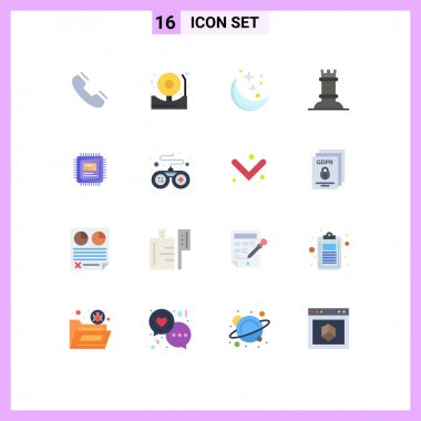 Set of 16 Modern UI Icons Symbols Signs for cpu, figure, fire, chess, weather Editable Pack of Creative Vector Design Elements icon