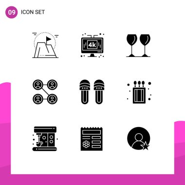 Stock Vector Icon Pack of 9 Line Signs and Symbols for clothes, friends, technology, connections, drink Editable Vector Design Elements icon