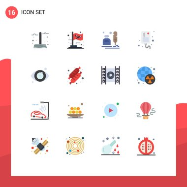 Set of 16 Modern UI Icons Symbols Signs for medical, infusion, witch, drip, letter Editable Pack of Creative Vector Design Elements icon