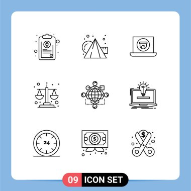 Stock Vector Icon Pack of 9 Line Signs and Symbols for function, equality, cubes, balance scale, camera Editable Vector Design Elements icon