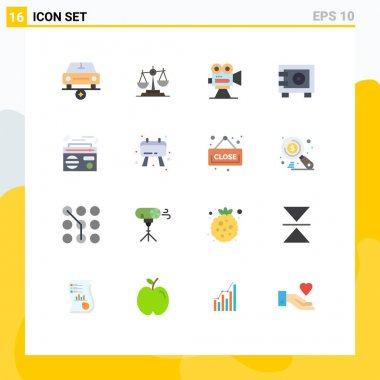 16 Creative Icons Modern Signs and Symbols of deposit, movie, law, film, camera Editable Pack of Creative Vector Design Elements icon