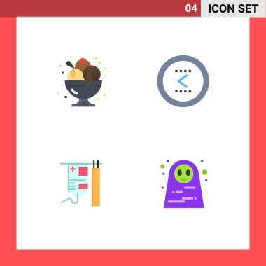 Stock Vector Icon Pack of 4 Line Signs and Symbols for birthday, previous, party, circle, hospital Editable Vector Design Elements icon