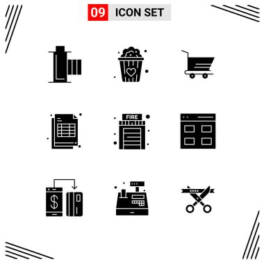 9 Universal Solid Glyphs Set for Web and Mobile Applications house, fire, cart, receipt, cheaque Editable Vector Design Elements