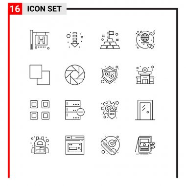 Stock Vector Icon Pack of 16 Line Signs and Symbols for camera, swap, rich, layers, travel Editable Vector Design Elements icon